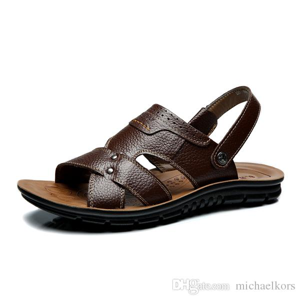 2018 Hot with Box Summer Beach Men Shoes Fashion Brown Men Sandals Genuine  Leather ! Men Sandals Shoes 2018 Sandals Summer 2018 Casual Shoes Sale  Online ...