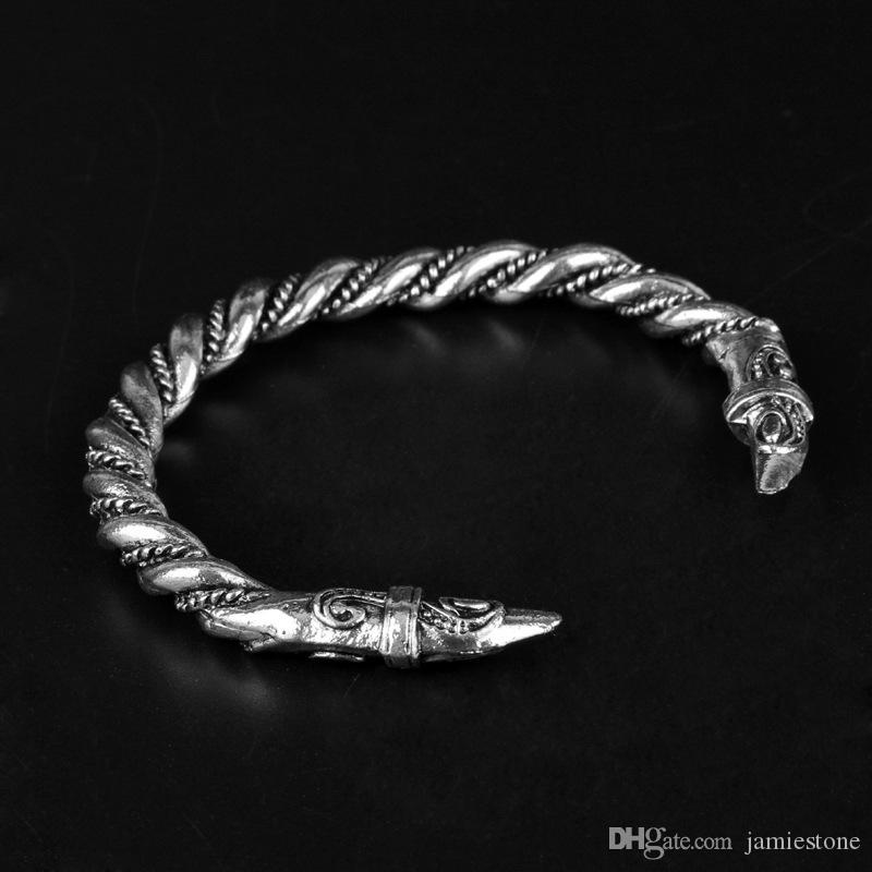 Joyería para hombre punk gótico Viking Bangle pulsera Dragon Head acero inoxidable ajustable brazalete de la vendimia