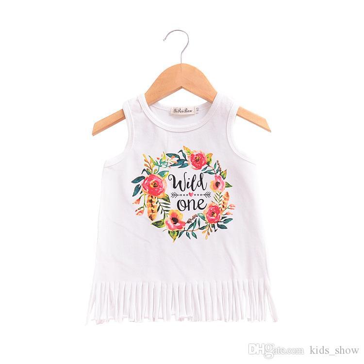Vestido blanco de Boho Babe Vestidos de niñas Vestidos de borlas Negro Salvaje Uno Vestidos estampados para bebés Vestido sin mangas Ropa de niñas