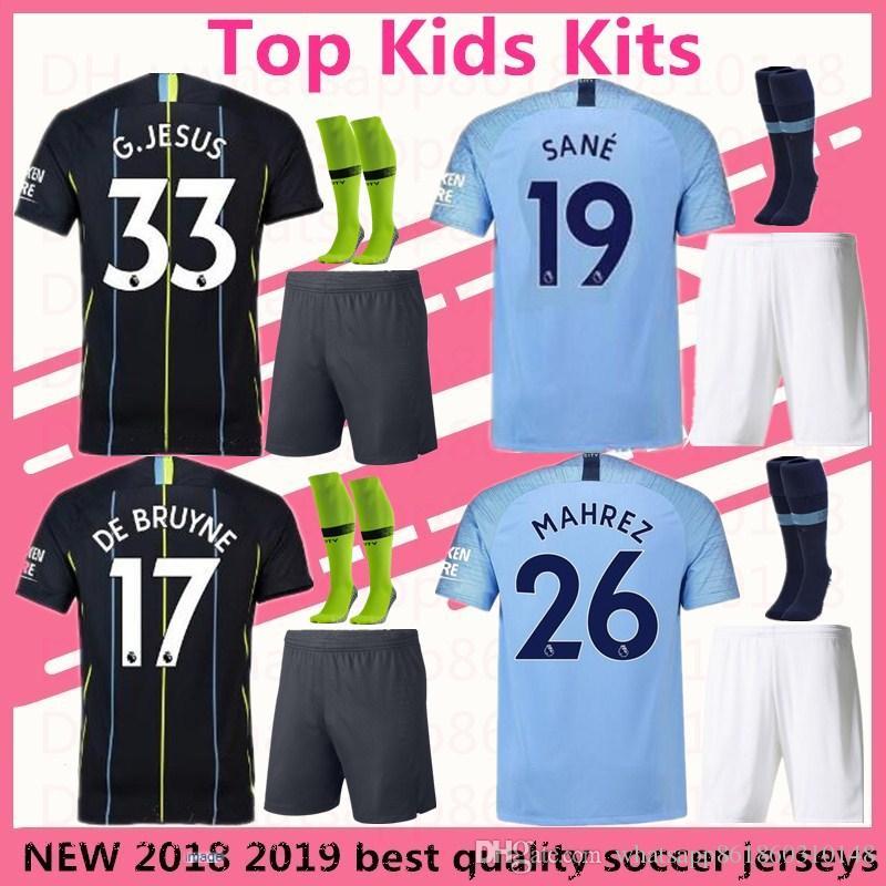 Kids Kits City MAHREZ Futbol Camiseta DE BRUYNE Soccer Jersey 2018 ... 49ffd3b4b