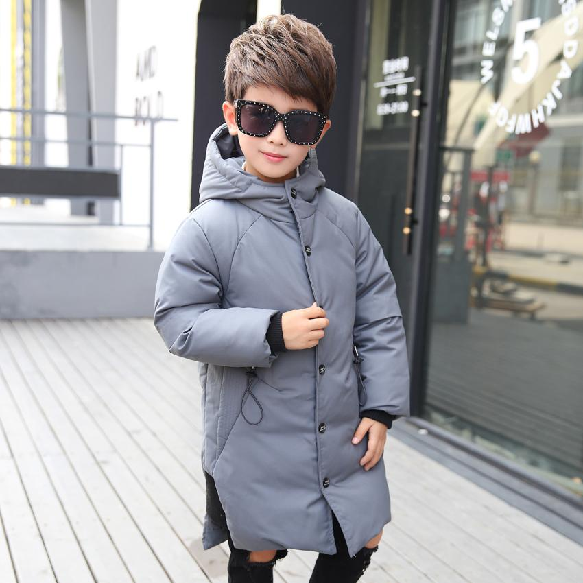 9ee382bed 2018 Children s Down Jacket Boys Fashion Hooded Long Jacket Boy ...