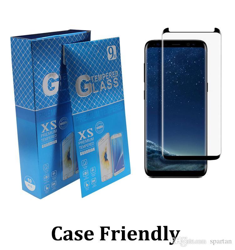 Cas amical en verre trempé 3D courbé Pas de pop up Protecteur d'écran pour Samsung Galaxy Note9 8 bord S7 S8 S9 S10 S20 S10 E plus la note 10