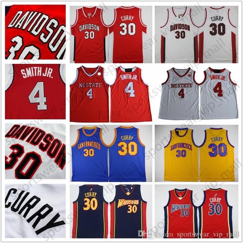 quality design 76f77 761fb NCAA Davidson Wildcat Jersey NC State Wolfpack Dennis Smith Jr. Stephen  Curry Blue red white Stitched College Basketball Jerseys wholesale