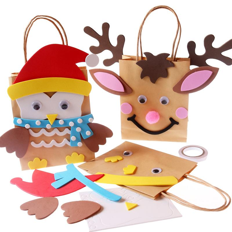15cm Elk Owl DIY Christmas Gift Bag Creative DIY Paper Hand Bag Christmas Gift Education for Children