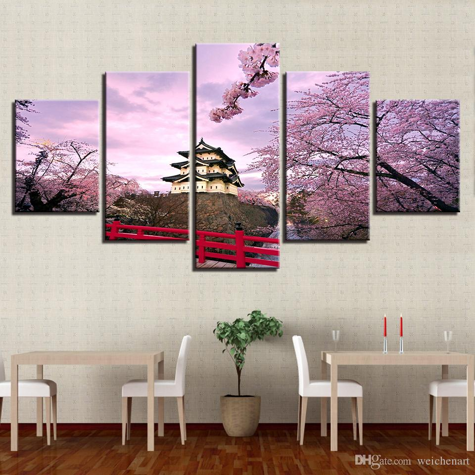 Canvas Paintings Wall Art HD Prints Ancient Building Pictures Framework Cherry Blossoms Castle House Posters Home Decor