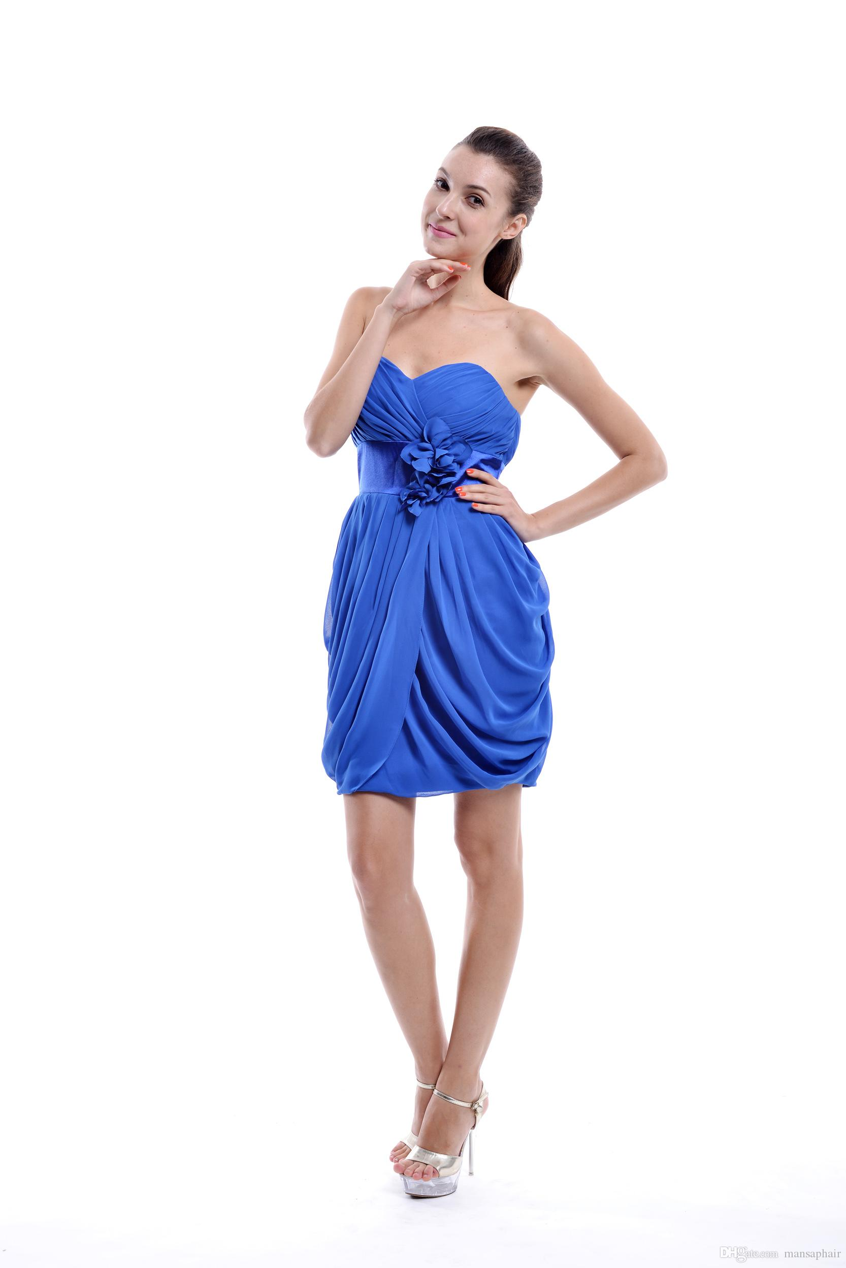 Großhandel Günstige Einfache Schatz Kurze Abschlussball Kleid Heimkehr  Kleid 15 Königliche Blaue Cocktailkleider Heimkehr Partei Abnutzung Von