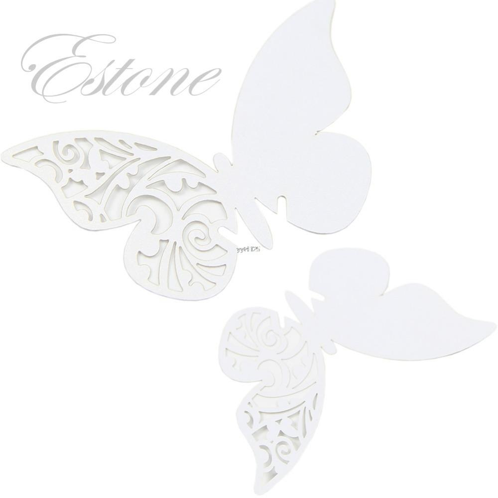 Table Mark Wine Glass Butterfly Name Place Cards Wedding Party Favor