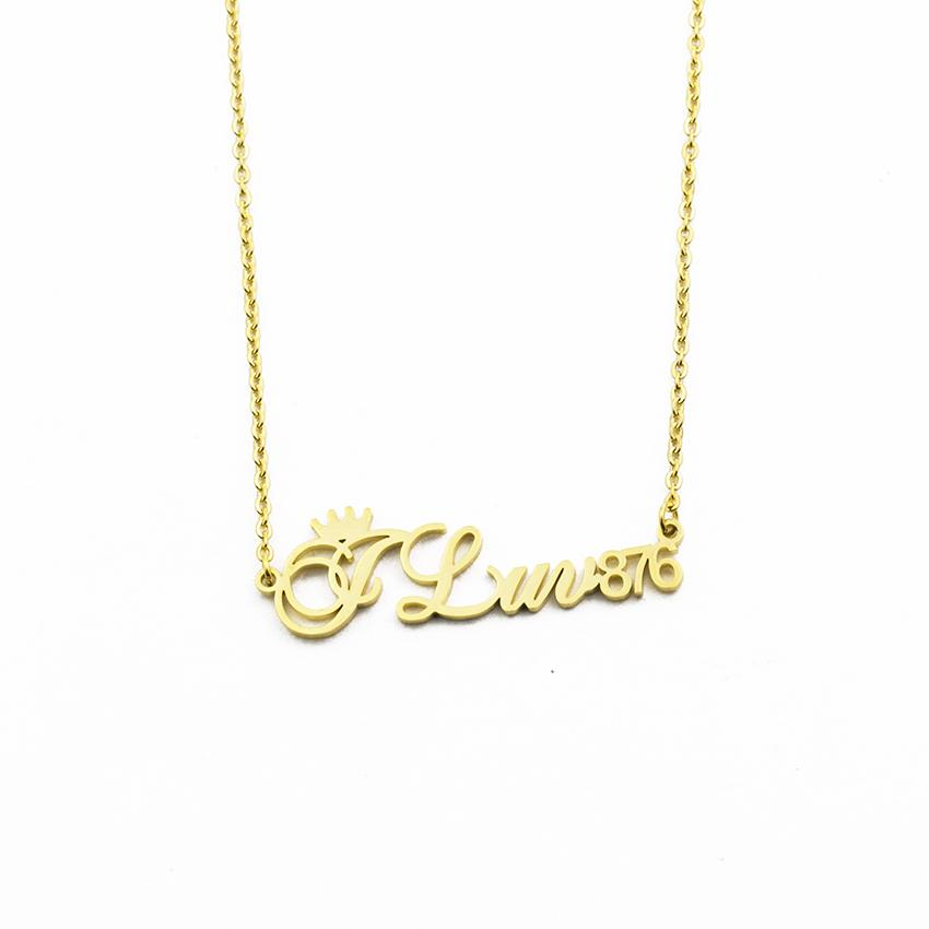 213002dc4fb6 Compre Collar Personalizado De Plata De Oro Para Hombres Mujeres Número  Personalizado Collar De Nombre De Encanto Collar Número Regalo Único A   17.73 Del ...