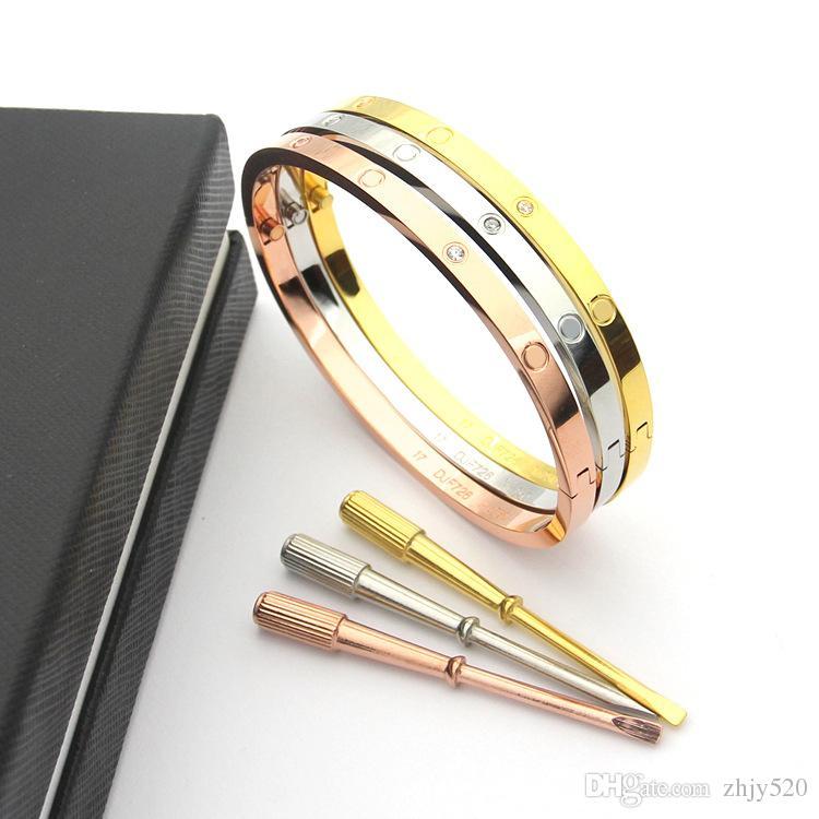 Moda Hot Modelo de Aço Inoxidável Prata Amor chave de fenda Pulseira 5mm Titanium Pulseira Banhado A Ouro 18 K Pulseiras Pulseiras para WomenFashion