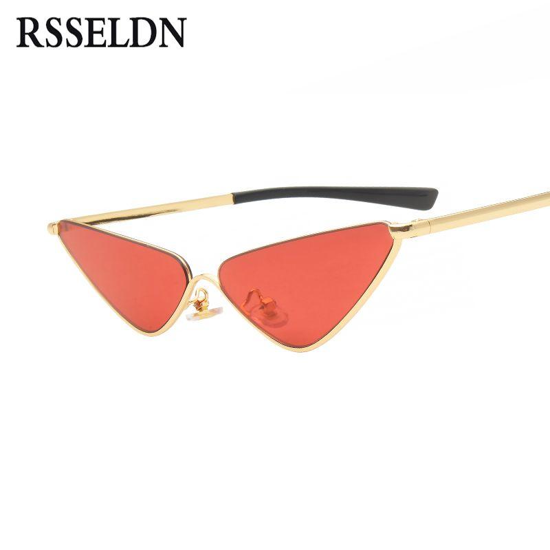 1d33151e0f RSSELDN Vintage Triangle Sunglasses Women Cat Eye Small Black Red ...