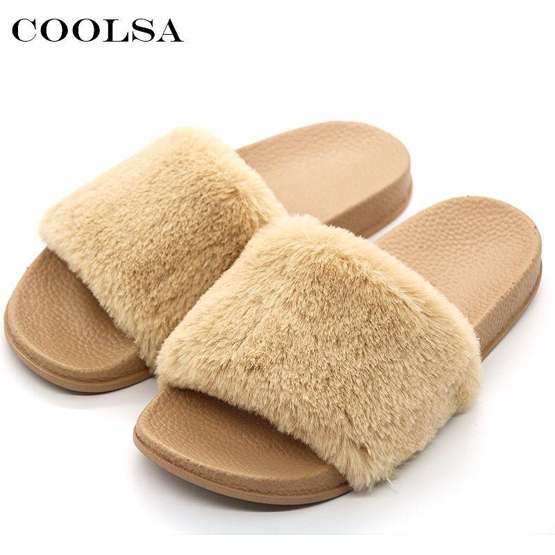42767bbe779611 COOLSA New Women s Furry Slippers Faux Fur Slides Designer PVC Flat Fluffy  Plush Fashion Home Slipper For Women Flock Flip Flops Dress Shoes Wedge  Shoes ...