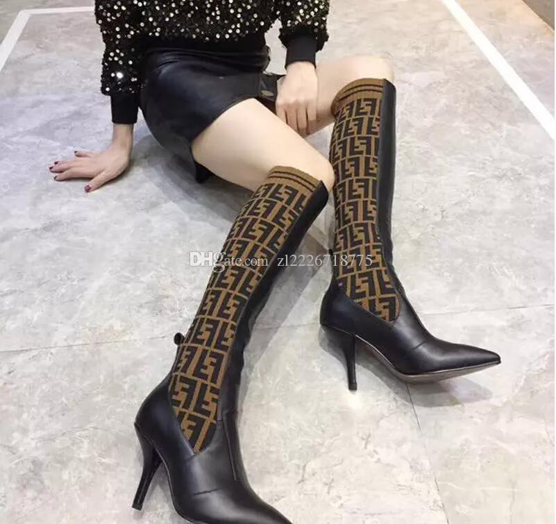 6b5ab8c2fae4 The New Superstars Brand Designer Women Thigh High Boots High Heel Sock  Shoes New In2018 Ladies Winter Boots High Quality Riding Boots Cheap Shoes  From ...