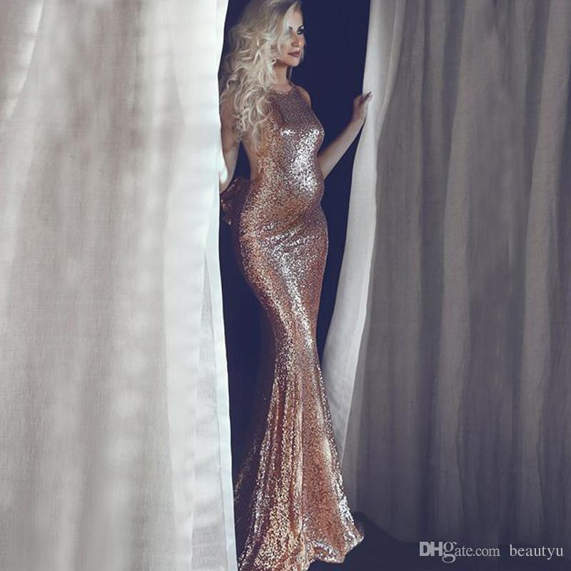 Rose Gold Sequined Evening Dresses 2018 New Backless Bow Long ...