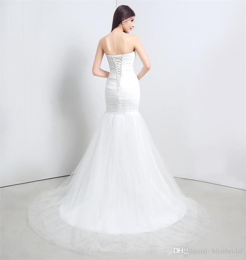 New Arrival Ruched Tulle Mermaid Wedding Dress Lace Up White/Ivory Marry Dresses Bridal Dresses Hot Sale In Stock vestido de festa curto