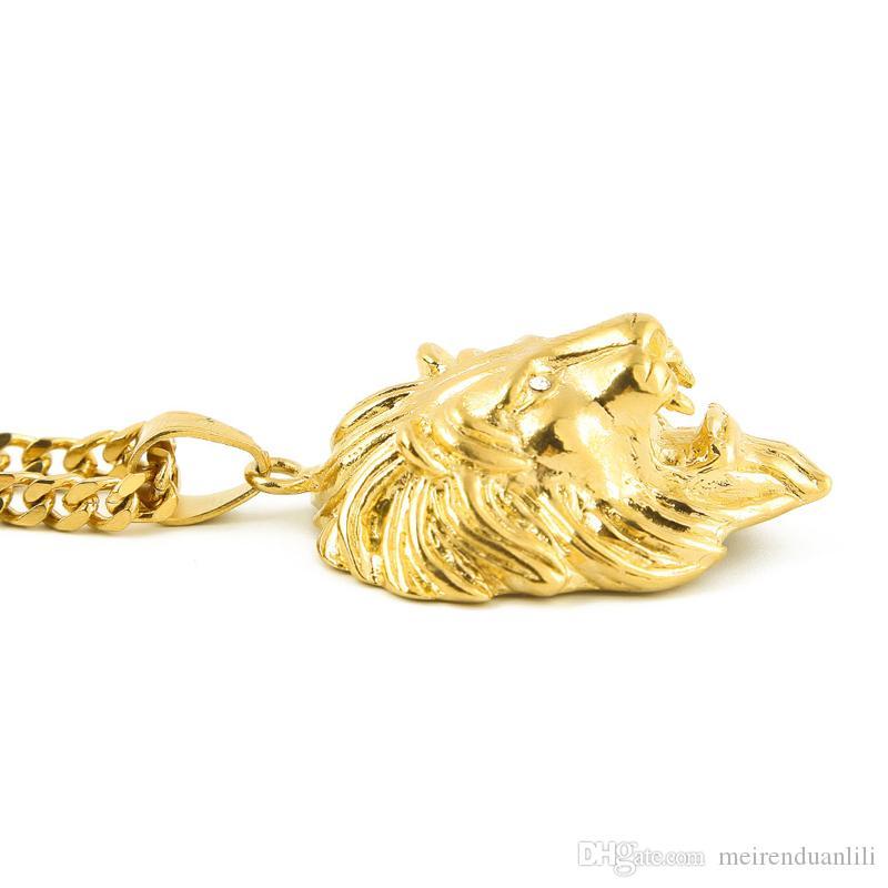 الأسد رئيس pendantsnecklaces الهيب هوب مجوهرات سلاسل الذهب للرجال ستانلس ستيل مصمم مجوهرات الكوبي ربط سلسلة بيان قلادة بيجو
