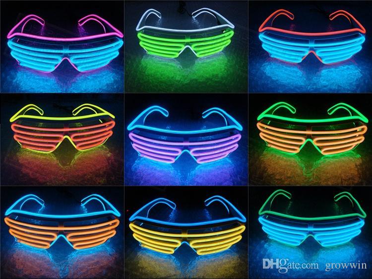 begrenzte garantie elegante Form Großhandelsverkauf LED Sonnenbrille blinkt EL Luminous Leuchten Neon Gläser Kostüme Party  Dekorative Beleuchtung Aktivierung Prop Party Dekoration D0491