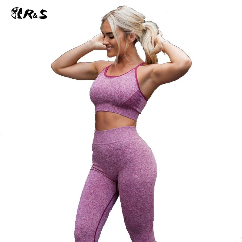 abf1b0131862c Acheter RS Nouvelles Femmes Sport Costume Taille Haute Yoga Ensemble  Sportwear Mode Fitness Costume 2018 Bodybuilding Gym Vêtements Solide Femme  Top + ...