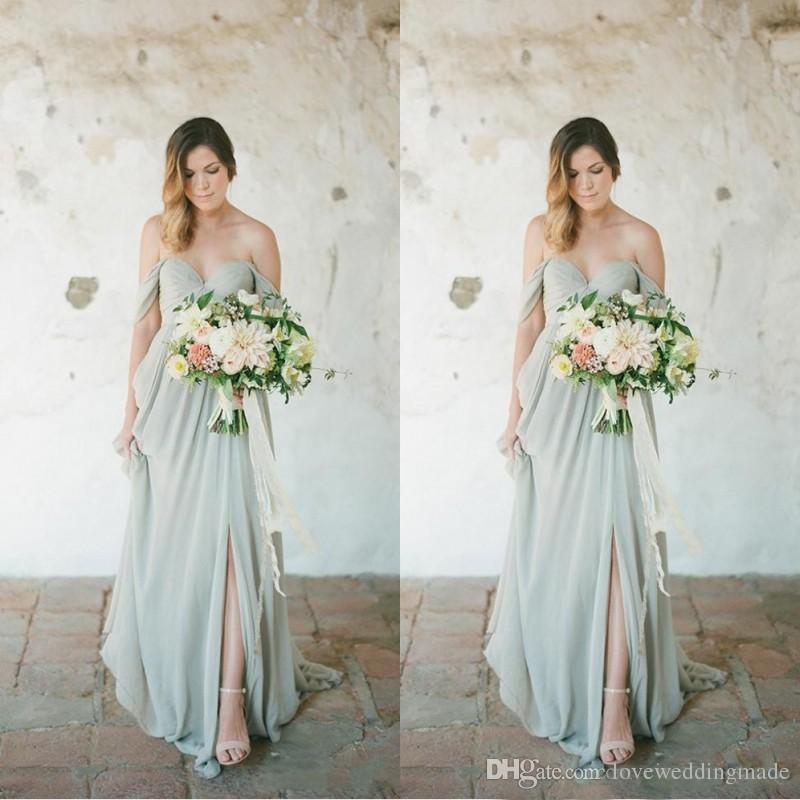 0ae45e50372 Sage Chiffon Bridesmaid Dresses Long 2018 Cheap Elegant Off Shoulder Floor  Length Beach Maid Of Honor Party Dress Bridesmaid Dress Sale Bridesmaid  Dress ...