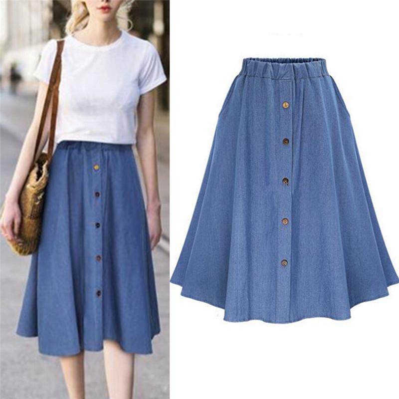9c17098c1 Moda coreana estilo preppy mujeres de mezclilla falda larga de color sólido  Naturaleza cintura femenina dobladillo grande botón informal Jean falda