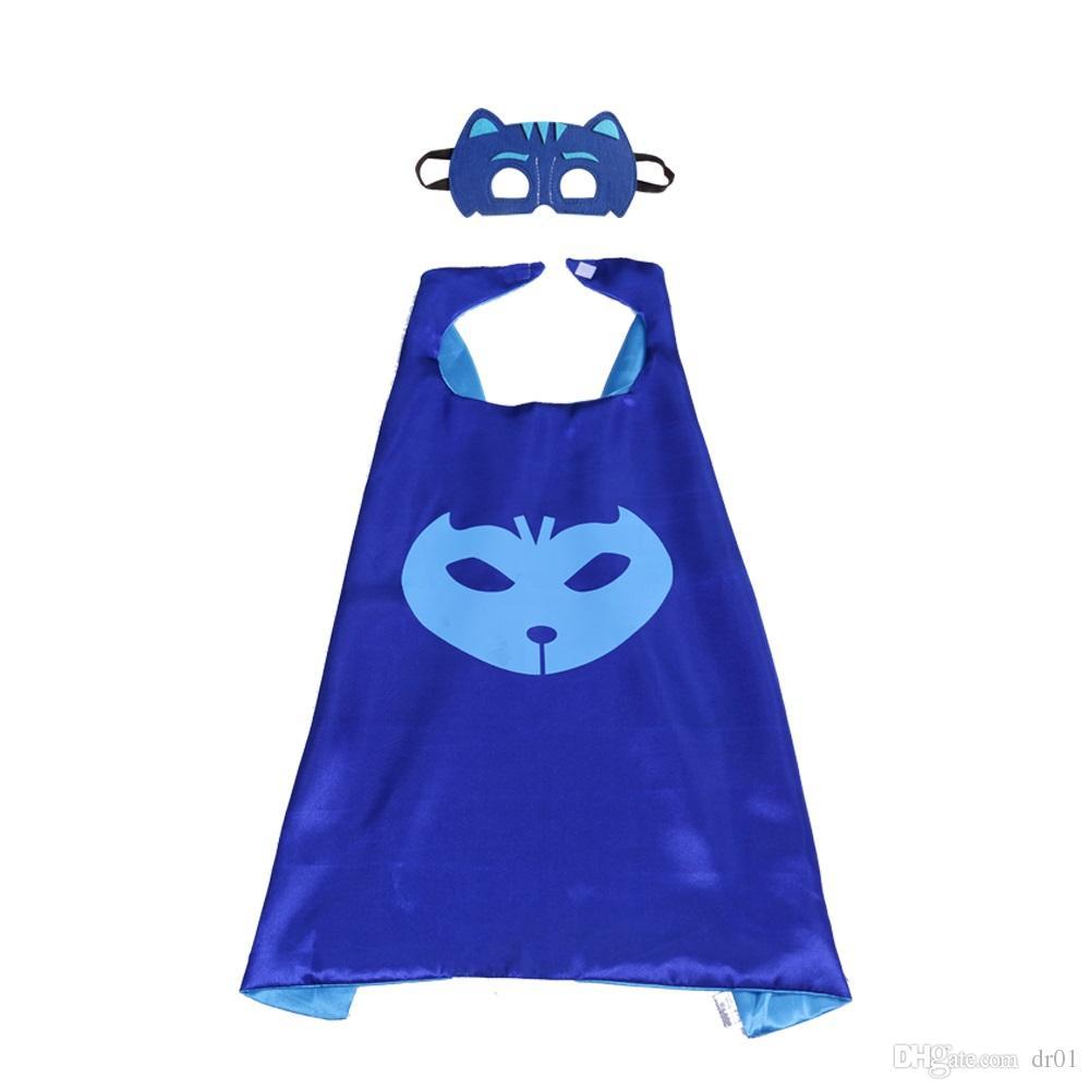 27 pollici PJ Costume da supereroe in raso con maschera bambini Regali feste in cosplay ragazzo a doppio strato Halloween