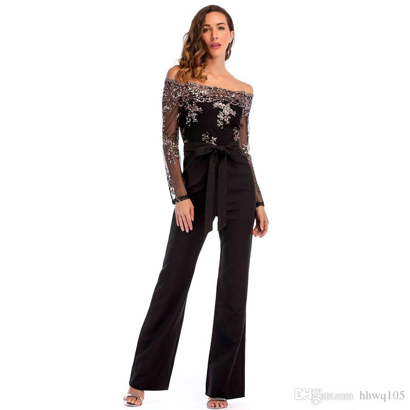 71296b9ceba7 2019 Slash Neck Black Jumpsuit Sequined Floral Long Sleeve Sheer Top Wide  Leg Pants Ladies Slim Cocktail Party Jumpsuits LJH0446 From Hhwq105