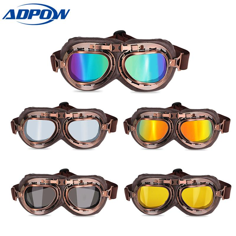 e65f1fded6 Motorcycle Goggles Glasses Vintage Motocross Classic Goggles Retro Aviator  Pilot Cruiser Steampunk ATV Bike UV Protection Bicycle Goggles Over Glasses  Bike ...