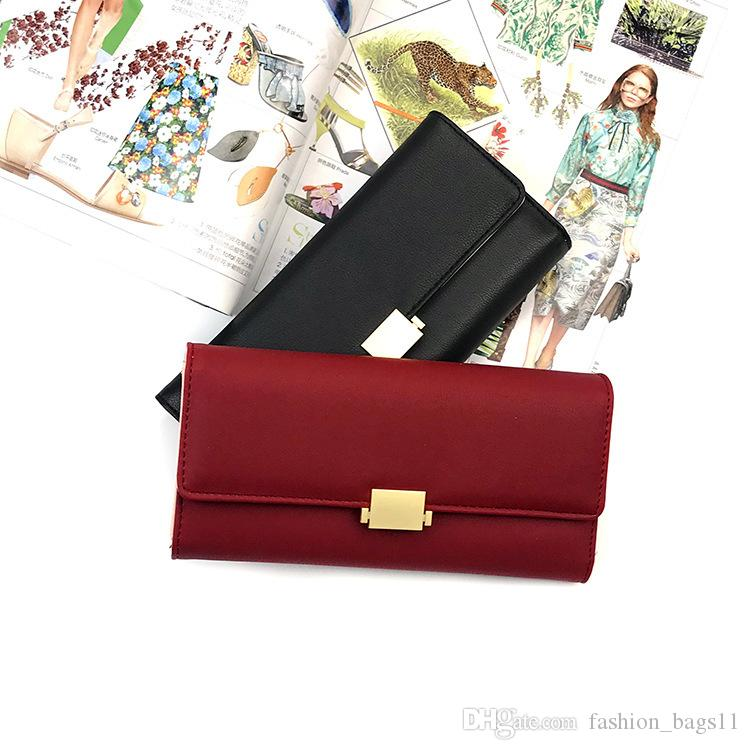 Fashion Wallet Women New Brand Designer PU Wallets Vintage Buckles Ladies Handbag Clutch Purse Bag Trifold Bifold Casual Long