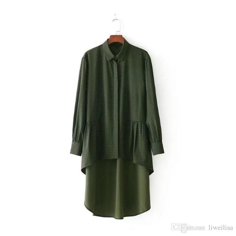 Women Plaid Ruffles High Low Shirt Asymmetry Blouse Green Classic Short Front Long Back Pleated hem Ladies Top Blusa Camisa