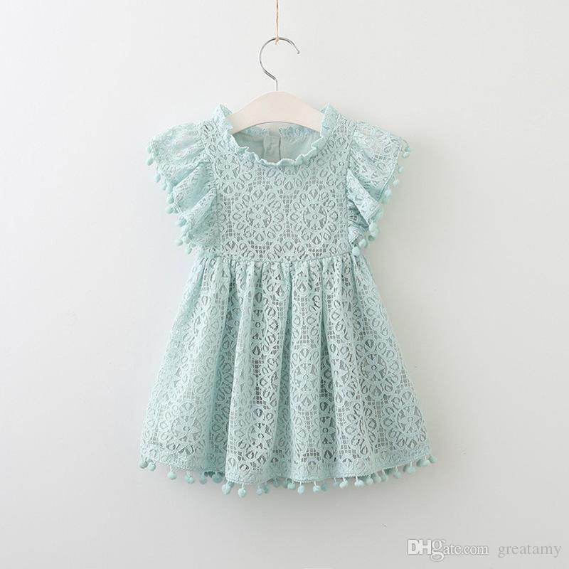 Manga de vuelo de encaje de niña princesa ahuecada vestido de niños faldas boutique niños vestidos de verano de belleza de calidad superior