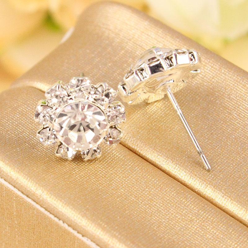 EK322 Chaude En Gros Nouveau Style De La Mode Brillants Tournesols Zircon Imitation Cristal OL Boucles D'oreilles De Mariage Bijoux Accessoires