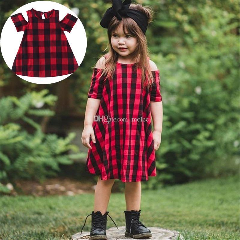 9daf99a07eb3 2019 INS Summer Autumn Kids Baby Girls Red Black Tartan Plaid O Neck ...