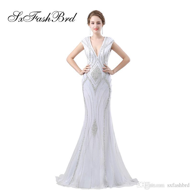 5d685276de8 Модные элегантные платья для девочек с V-образным вырезом с открытой спиной  и рукавами Русалка с бисером Длинные вечерние вечерние платья для женщин  Пром