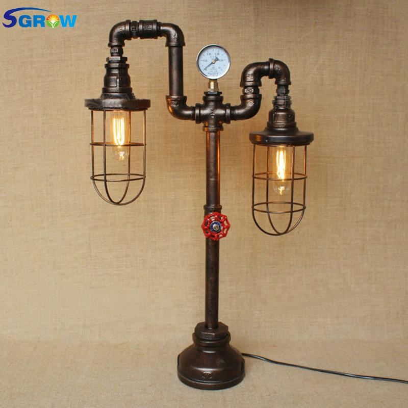 2019 Sgrow Two Heads Iron Cage Desk Lamp For Bedroom Creative Design