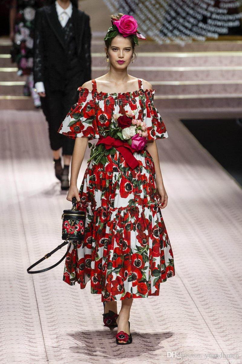 1a30bf448 Compre 2018 Señoras De Lujo Más Nuevo Estampado Floral Cuadrado Cuello  Elástico Vestido De Cintura Mujeres Hombro Fashion Runway Vestidos 181026 A   63.31 ...