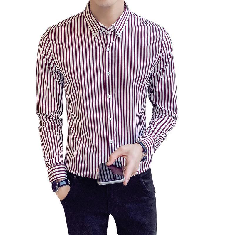 dddb41dcc4b93 Satın Al Sıcak Satış Gömlek Erkekler Kore Slim Fit Uzun Kollu Çizgili  Casual Gömlekler Erkek Giyim 2018 Tüm Maç Basit Erkek Gömlek 3XL M, $48.54  | DHgate.