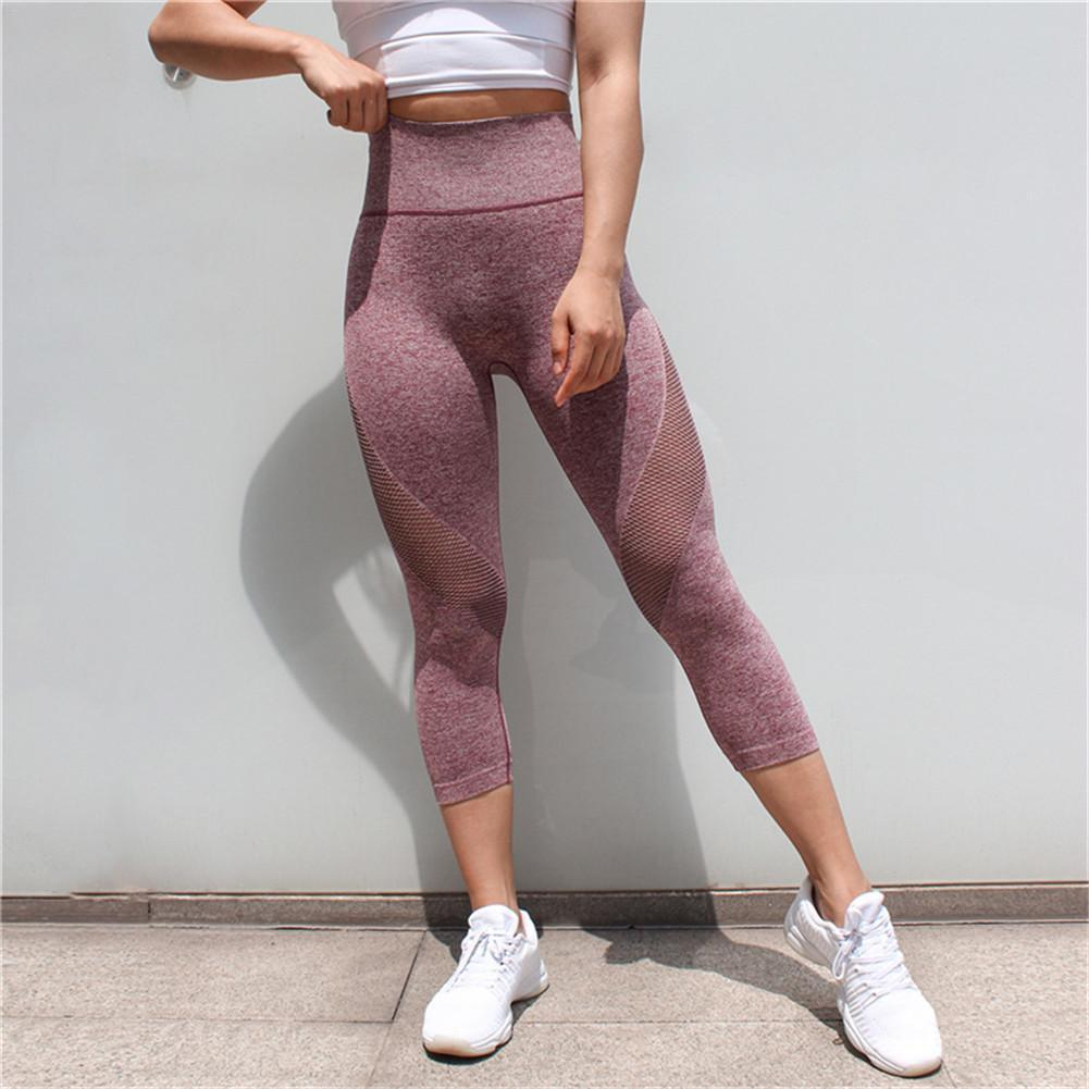 a424eba9d29785 Sportswear Woman Gym Leggings For Fitness Sports Women's Leggins Clothing  Yoga Pants Capris Mesh Training Women Trousers