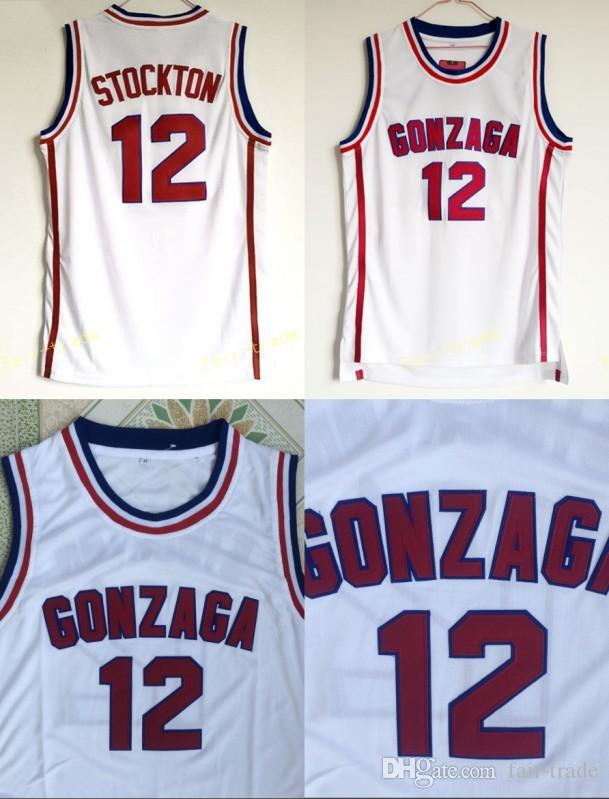 a413bd127ef2 2019 Gonzaga Bulldogs Basketball 12 John Stockton Jersey High School Team  White Color Stockton Bulldogs Jerseys Breathable Sport From Fair Trade