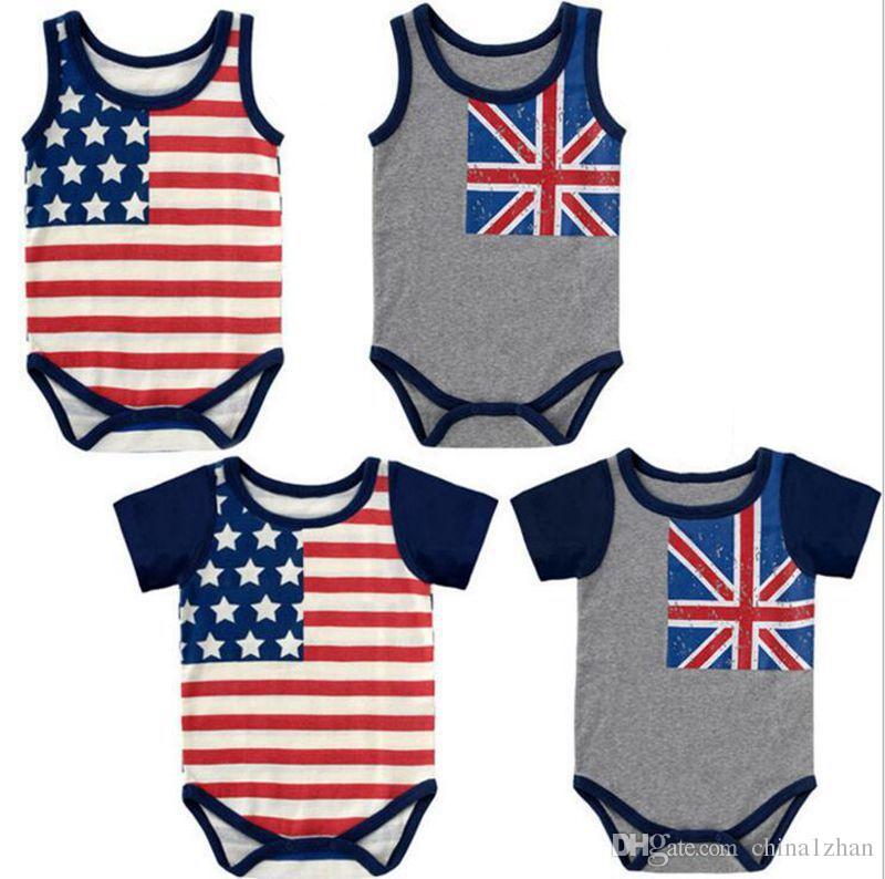 2eba1ca8a640 Summer INS Printed Romper USA UK Flag Kids Jumpsuits Breathable ...