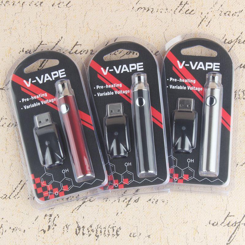Vorglühen Blisterpackung 510 Gewinde Akku 100% Qualität 650mAh EVOD Variable Voltage Vaporizer Feder für dickes Öl Vape Cartridge