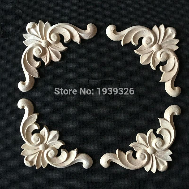 2017 Wood Carving Applique 5 Pcs Cabinet Door Furniture Decorative Appliques Flower Alphabet Carved Board Solid Wood Plaque Sign Plaques & Signs Home Decor