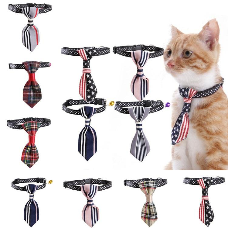 10 Estilos Pet Dog Cat raya de la raya con Bell Nylon Tie Collar ajustable Cat Tie Cat corbata de cuello Lovely T2I405