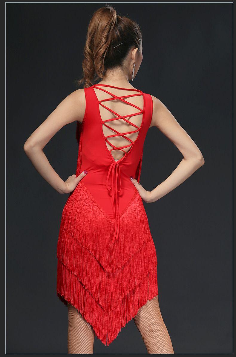 Sexy Latin Dance Dress Women Flapper Dress Salsa Tango Dress Samba D0023 with 5 Layers of Tassels