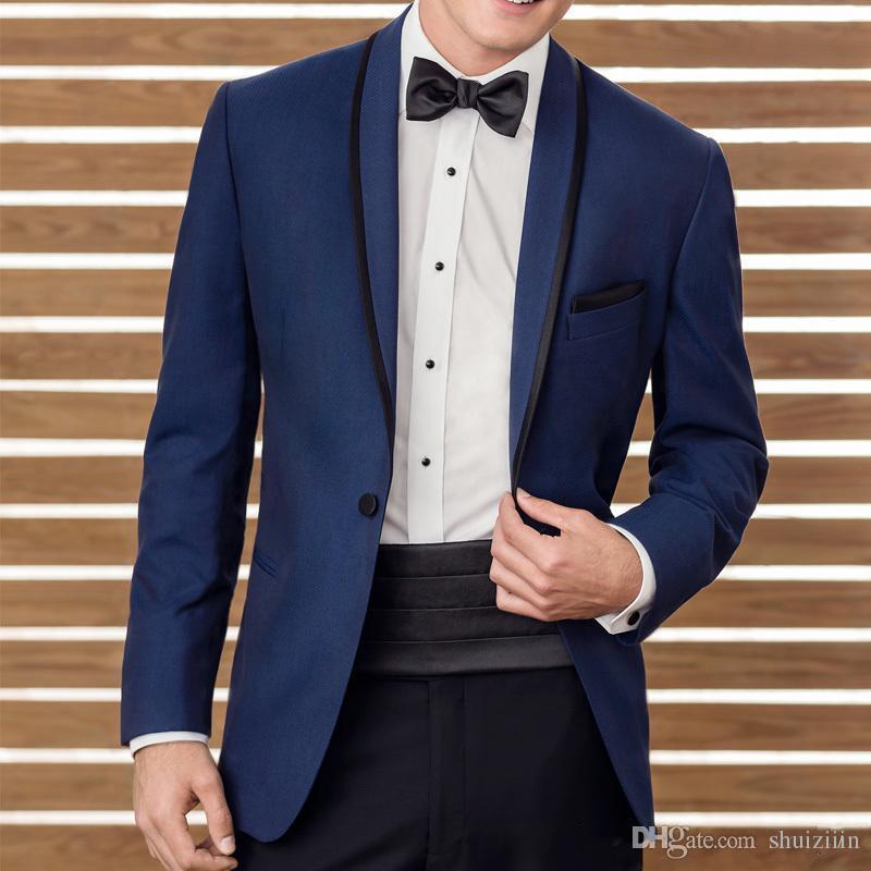 2018 Two Piece Blue Wedding Suits Groomsmen Tuxedos Black Shawl Lapel Business Men Suits Custom Made Jacket+Pants+Waistband