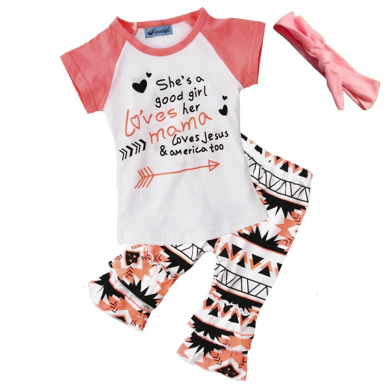 17df0e304e65a 2019 2018 Girls Baby Clothing Set Letters Tshirts+Pants Headbands Sets Fashion  Summer Girl Kids Tops Suits Children Boutique Outfits From Heykang, ...