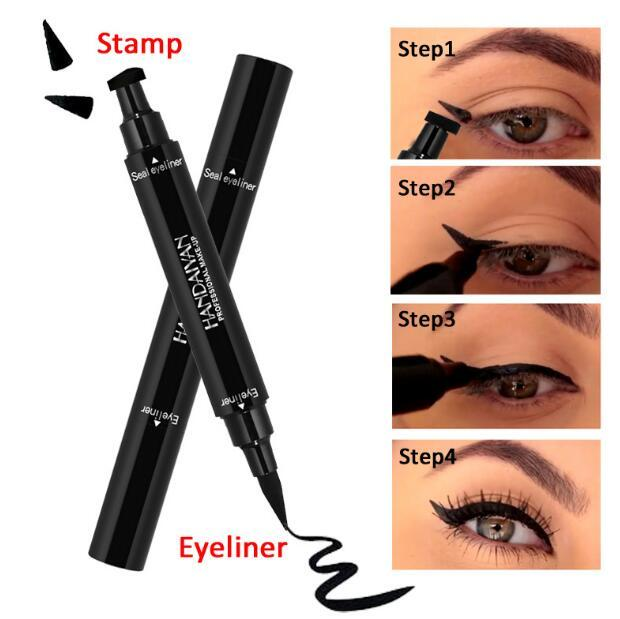 Double Ended Black Eyeliner Liquid Pencil & Eyeliner Stamp Long Lasting Cat Eye Wing Style Eyes Makeup Eye Liner Stamps CCA9485 120pcs
