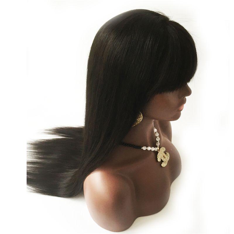 Perruques de cheveux humains avec des franges vierge cheveux péruviens sans colle dentelle avant perruques avec des cheveux de bébé perruque droite naturelle pleine dentelle avec des franges