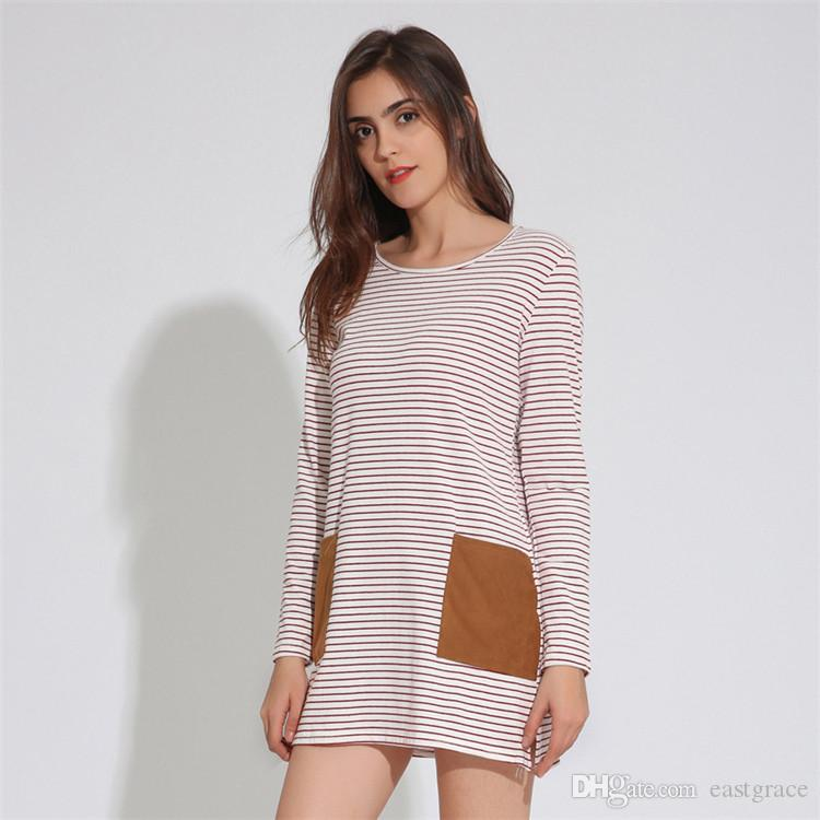 New Arrival Striped dress 2018 Europe and the United States Casual summer dress for Women long sleeve pocket patchwork dress S-XL