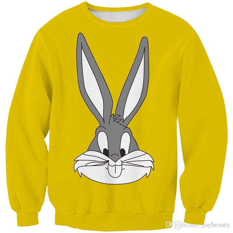 Women Sweatshirt Cartoon Rabbit Bunny Yellow 3D Full Print Girl Free Size Stretchy Hoodies Lady Long Sleeves Tops Sweatshirts (RLSws0280)