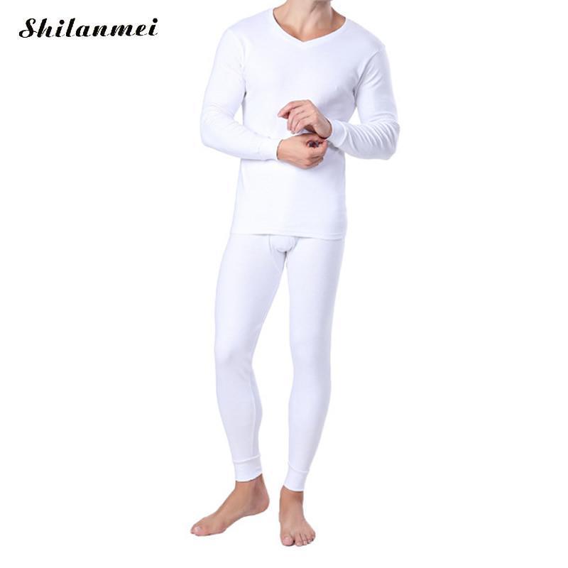 fc3863cb79c6 Winter White Thermal Underwear Sets For Men Elastic Cotton Long Johns Solid  Color Warm Sexy Brand Men's Pants Suit Size M-XXL