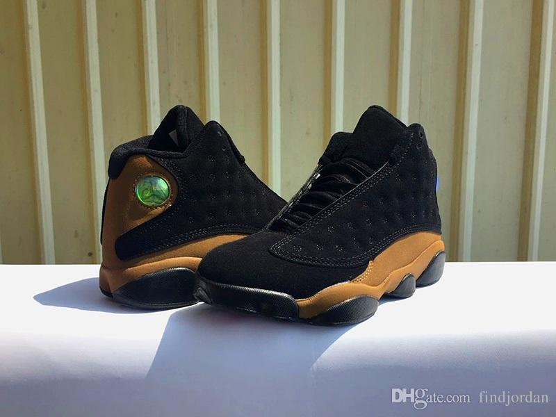 En Son 13 Siyah / Gerçek Kırmızı-Işık Zeytin 414571-006 Erkekler Basketbol Ayakkabı Siyah Süet Spor Ayakkabı Eğitmenler Koşu Sneakers Boyutu 8-13
